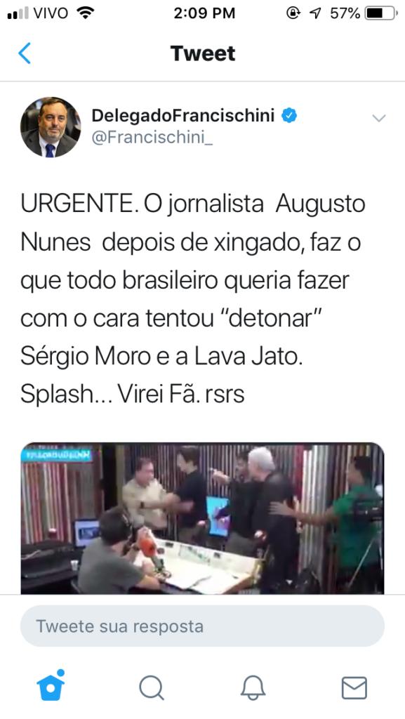 Francischini comemora agressão contra jornalista