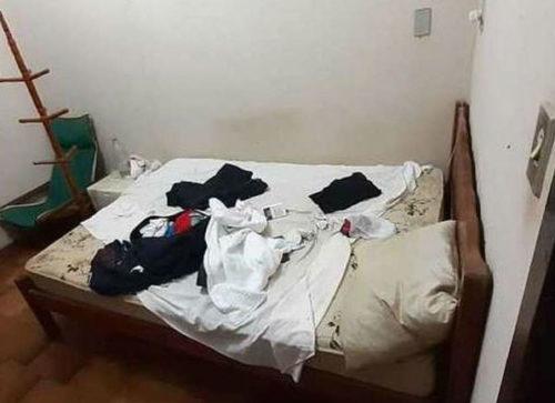 Quarto em que foram encontradas as duas reféns. Foto: Polícia Civil de Goiás